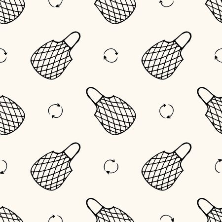 Seamless vector pattern with reusable mesh bags, net bags, string bags, netted bags and eco signs in doodle handdrawn style, zero waste conception