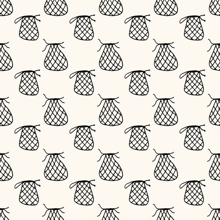 Seamless vector pattern with reusable mesh bags, net bags, string bags, netted bags in doodle handdrawn style, zero waste conception