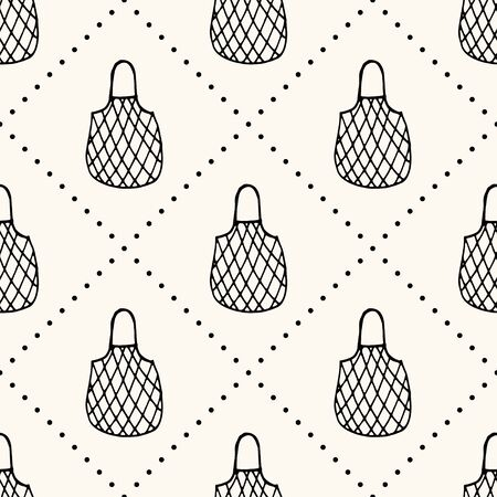 Seamless vector pattern with reusable mesh bags, net bags, string bags, netted bags with polka dot, in doodle handdrawn style, zero waste conception 向量圖像