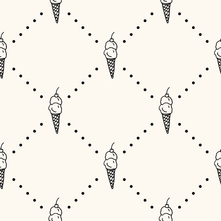 Seamless vector pattern with monocrome ice cream on cone with cherry and polka dot. Can be used for wallpaper, pattern fills, web page background