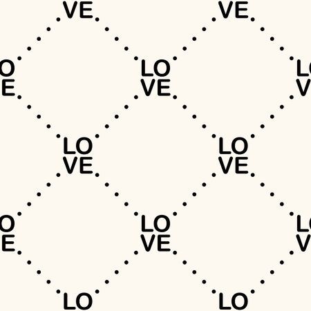 Vector seamless geometric monocrome pattern of dots and words love. Can be used for wallpaper, pattern fills, web page background,surface textures 일러스트