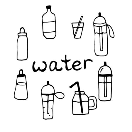 Sport water bottles, glasses, jars set on white background, doodle handdrawn style, vector