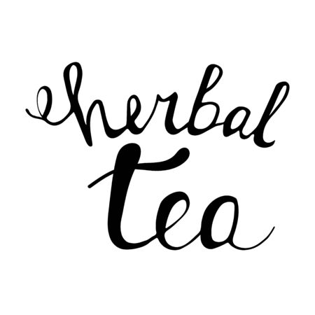 Hand drawn unique lettering, herbal tea. Vector illustration for prints, brochures