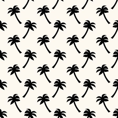 Vector seamless geometric pattern with silhouettes of palms