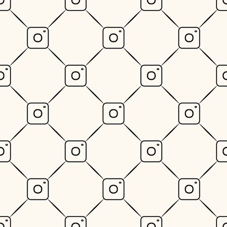 Seamless vector pattern with small camera icons and lines, geometric repeatable background Zdjęcie Seryjne - 140601477