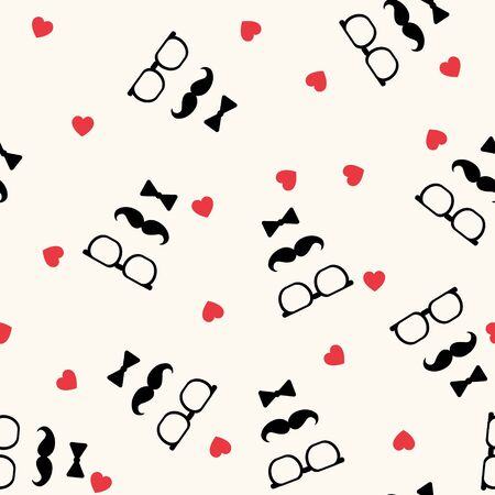 Fathers day vector seamless pattern with mustaches, bow ties and glasses, looking like face, simple elegance monochrome illustration with cute red hearts. Good for prints, web and texture