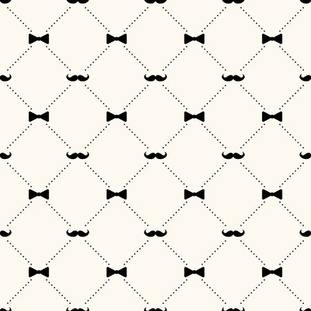 Fathers day vector seamless pattern, geometrical background with mustaches, bow ties and dotted lines, simple elegance monochrome illustration. Good for prints, web and texture