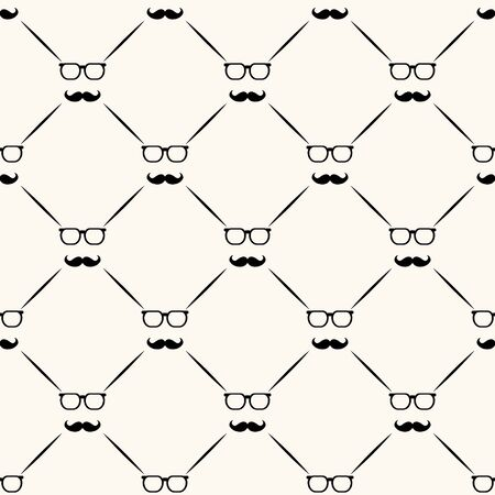 Fathers day vector seamless pattern, geometrical background with bow ties, glasses and lines, simple elegance monochrome illustration. Good for prints, web and texture Vektorové ilustrace
