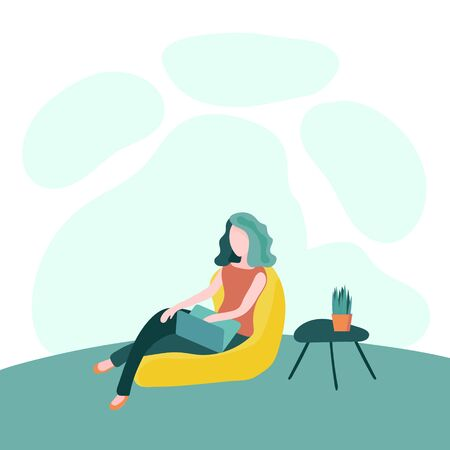 Flat vector ilustration of woman sitting with laptop on soft beanbag chair near small table with plant in pot on it. Concept of stay at home, quarantine, online education, studying or relaxing