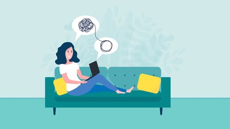 Woman sitting on sofa with laptop on online psychological consultation. Concept of online psychotherapy session, support and help. Professional online therapist counseling female character with mental problem via video call. Flat vector illustration Illustration
