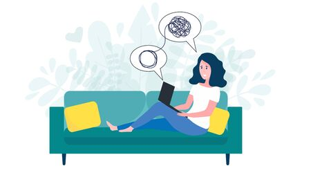 Woman sitting on sofa with laptop on online psychological consultation. Concept of online psychotherapy session, support and help. Professional online therapist counseling female character with mental problem via video call. Flat vector illustration