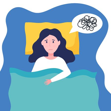 Young woman suffer from insomnia. Sleepy girl can not sleep because of mental problems. Female try to sleep on pillow and under blanket. Flat vector concept of stress, depression, nightmares
