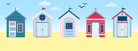 Flat vector tropical illustration of colorful beach huts in row on sea side landscape. Concept of summer vacation in surfhouse. Beach cabins with flags Vettoriali