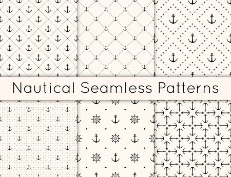 Set of 6 vector seamless geometric pattern with anchors, steering wheel and polka dot. Nautical background in minimalistic style. Vintage maritime backdrop for texture, paper, card, textile. Illustration