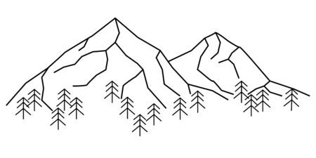 Vector illustration of mountain landscape in flat line style. Mountain range with trees lineart icon isolated on white. Symbol for ski resort, vacation banner, travel badges, prints