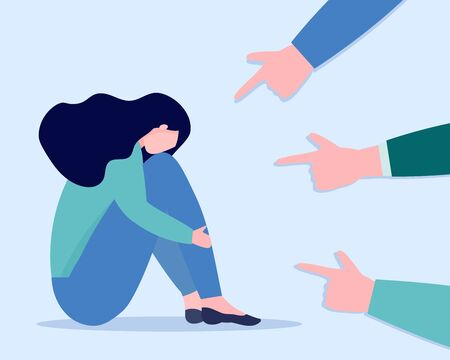 Sad woman with depression surrounded with pointed fingers. Concept of social bullying, conviction, denunciation, accusing. Vector flat illustration of victim.