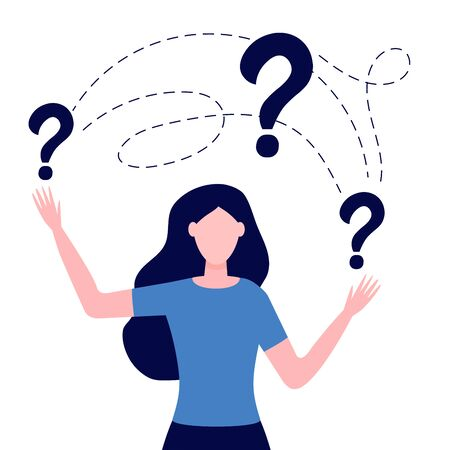 Smart puzzled woman asking question. Girl surrounded question marks. Concept of inquiry, frequently asked questions, looking for assistance, help, thinking. Female character in trouble.