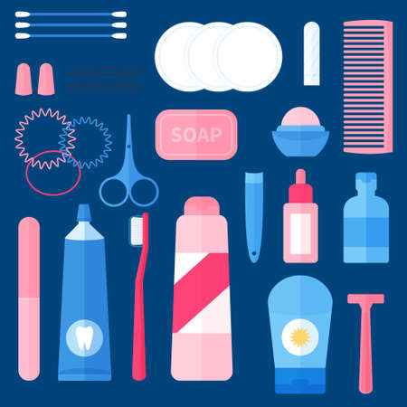 Women toiletry kit , bathroom essentials for ladies, travel portable set of hygiene accessories. Concept of personal hygiene care. Flat vector illustration.