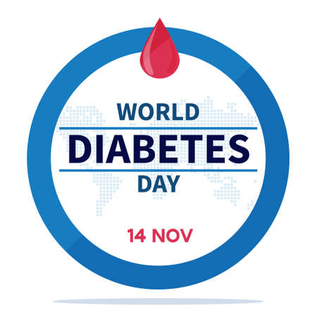 World Diabetes Day banner or flyer with diabetes symbol - blue round frame and map. 14th November. Concept of awareness diabetes and fight against diabetes