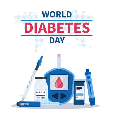 World Diabetes Day banner or flyer with insulin pen, glucometer, lancets, test strips and syringe. 14th November. Concept of awareness diabetes and fight against diabetes