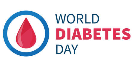 World Diabetes Day banner or flyer with diabetes symbol - blue round frame. 14th November. Concept of awareness diabetes and fight against diabetes Ilustração
