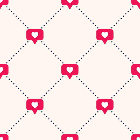 Vector seamless geometric pattern with bright red social media like sign and polka dot. Social network appreciate likes symbol, hearts, background. Simple trendy SMM backdrop. Vectores