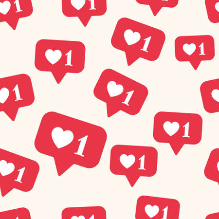 Vector seamless pattern with bright red social media like sign. Social network appreciate likes symbol, hearts, background. Simple trendy SMM backdrop.
