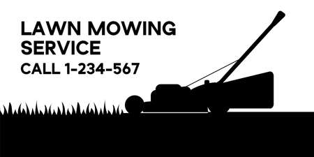 Flat vector illustration of lawn mowing service flyer. Modern lawnmower cutting green grass. Banner for landing page, web, app. Concept of gardening service 일러스트