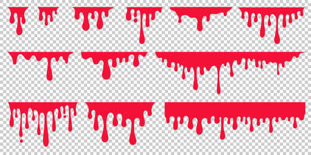 Red dripping paint, looking like drip of blood or ketchup. Set of abstract liquid stain elements for halloween decoration. Flat vector illustration of splash ink flows