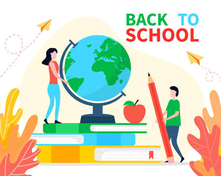 Back to school banner or landing page in flat cartoon style. Big globe on stack of book with tiny people and autumn leaves. Concept of education, learning, school library.