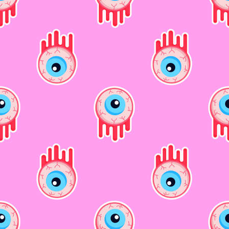 Creepy bloody zombie eyes halloween seamless pattern. Repeatable background with monster eyeballs. Great for prints, digital papar, textile, decoration