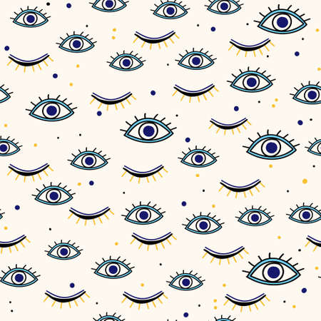 Various evil eyes hand drawn talismans seamless pattern for protection and good luck. Contemporary modern trendy background for digital paper, textile, texture, wrapping paper.