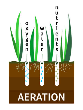 Lawn aeration process vector illustration. Concept of lawn grass care, gardening service, benefits of aeration. Water, air and fertilizer having easy access to soil