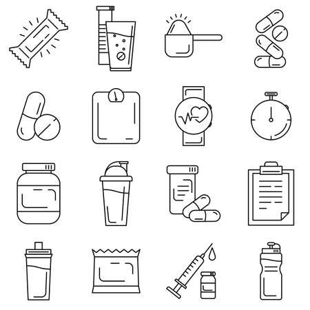 Set of sport and bodybuilding supplements and tools line icons. Fitness outline icons such as whey protein, bcaa, vitamin, heart rate monitor, stopwatch, energy bar, scales, shaker, sport water bottle Vectores