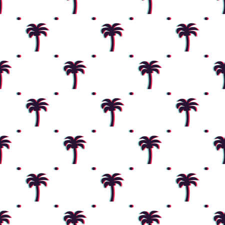Vector seamless glitched tropical pattern with silhouettes of palms and dots. Can be used for wallpaper, pattern fills, web page background, surface textures.