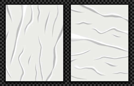 Realistic badly glued paper vector illustration. Wet crumpled poster mockup, wrinkled sheet texture, imitation crumpled paper effect