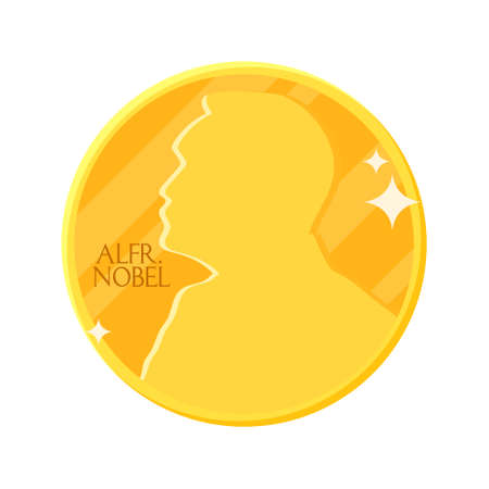 Golden Nobel medal in flat design. Vector illustration of stylized Nobel prize - award of the year. Abstract coin icon. Concept of winner