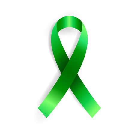 Realistic vector illustration of green ribbon awareness symbol. Organ donation, liver cancer, mental health and other illness prevention sign Vettoriali