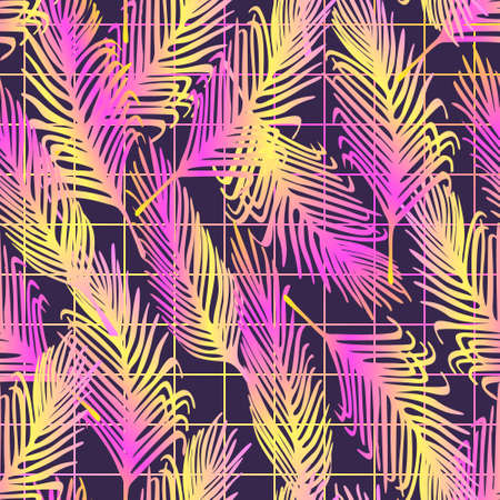 Seamless vector pattern with neon palm leaves. Tropical glowing background with grid. Vaporwave, retrowave, synth music style concept