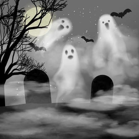 Realistic halloween vector background with ghosts in fog on cemetery. 3d smokes looking like night ghouls in mystic smoke near gravestones. Halloween illustration of scary poltergeist or phantom