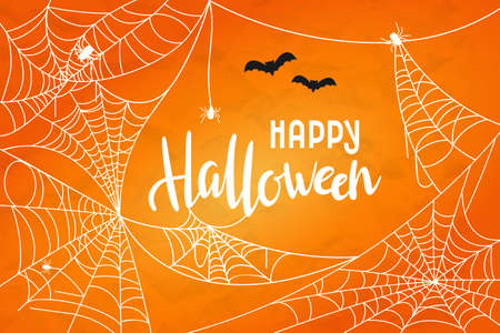 Vector Halloween background with cobweb. Happy Halloween hand drawn lettering with white webs and spiders. Banner, flyer, greeting card or party invitation illustration