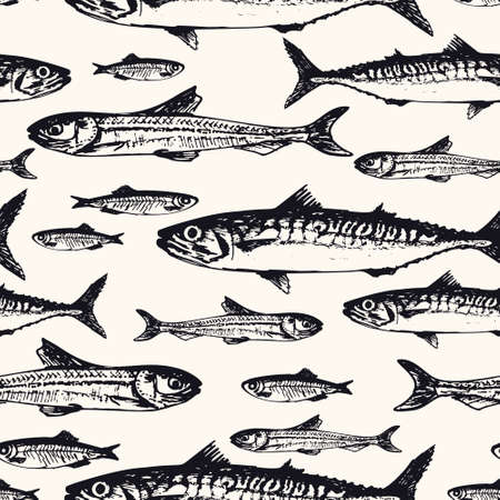 Seamless pattern with ocean and sea fishes in sketchy style. Vector illustration of handdrawn mackerel, tuna, and capelin in vintage style. Background for wrapping paper, decoration, textile
