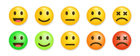 Satisfaction rate icons vector illustration Feedback in form of emotions. Consumer review scale, user experience indicator. Expresion on faces from sad mood to happy.