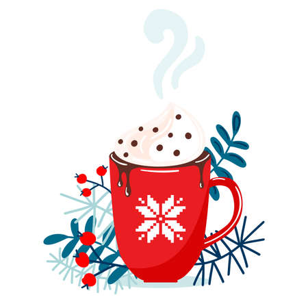 Red mug with christmas hot chocolate or coffee with whipped cream surrounding with branches, floral elements. Christmas or New Year greeting card decoration element. Vector illustration 일러스트