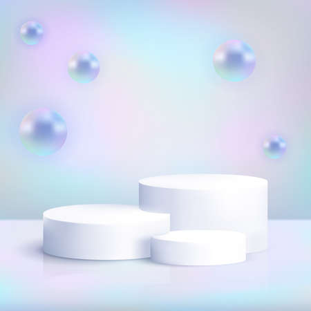 Realistic white podium on iridescent background with flying holographic spheres. Pastel scene with blank cylinder pedestal for product show. Luxury platform vector mockup 向量圖像