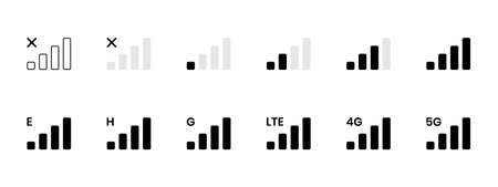 Signal reception bar collection of vector illustration. Mobile phone connection level icons. No signal, bad, lte, 4g and 5g network status. Strength indicator for interface, web app, ui 向量圖像