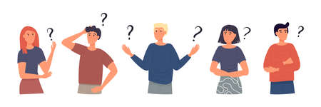 Concept of inquiry, frequently asked questions, looking for assistance, help, thinking. Female and male characters surrounded question marks. Men and woman in trouble. Flat vector illustration