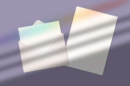 Realistic blank a4 paper sheet and letter in envelope with shadow overlay effect with rainbow lens flare. Transparent soft shadow with sunlight from blinds on window. Vector mockup illustration