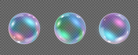 Rainbow colorful underwater bubble isolated on transparent background. Realistic vector illustration of air or soap water bubbles with reflections. Collection of iridescent shiny shampoo foam balls