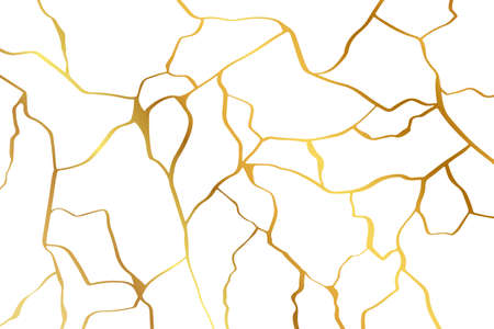 Gold kintsugi design isolated on white backdrop. Golden crackle texture background. Luxury broken marble stone pattern for wedding invitation or card template Vecteurs